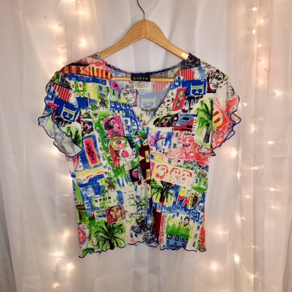 5447b48f580 Libra Tops   Colorful Art Patterned Scallop Sleeved Blouse   Poshmark